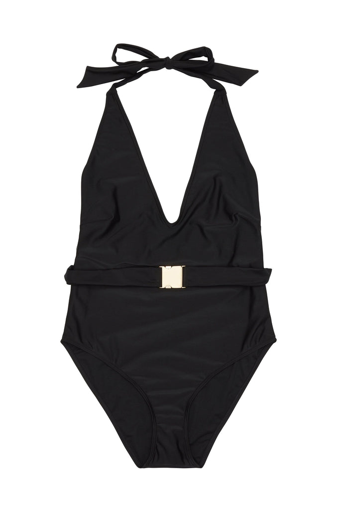 Wolf & Whistle Selki Black Belted Halterneck Swimsuit Curve
