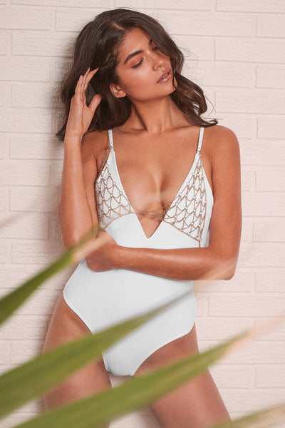Wolf & Whistle Goldie white swimsuit with removable chain