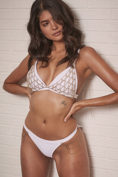 Wolf & Whistle Goldie white triangle bikini top with removable chain