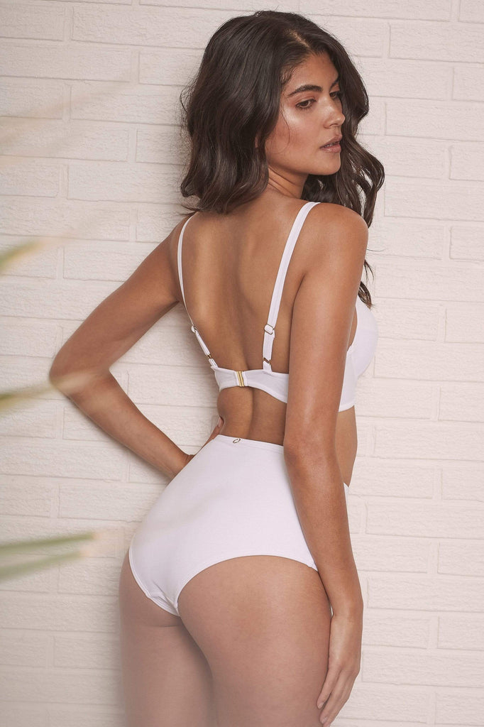 Wolf & Whistle Goldie White high waist bikini brief with removable chain