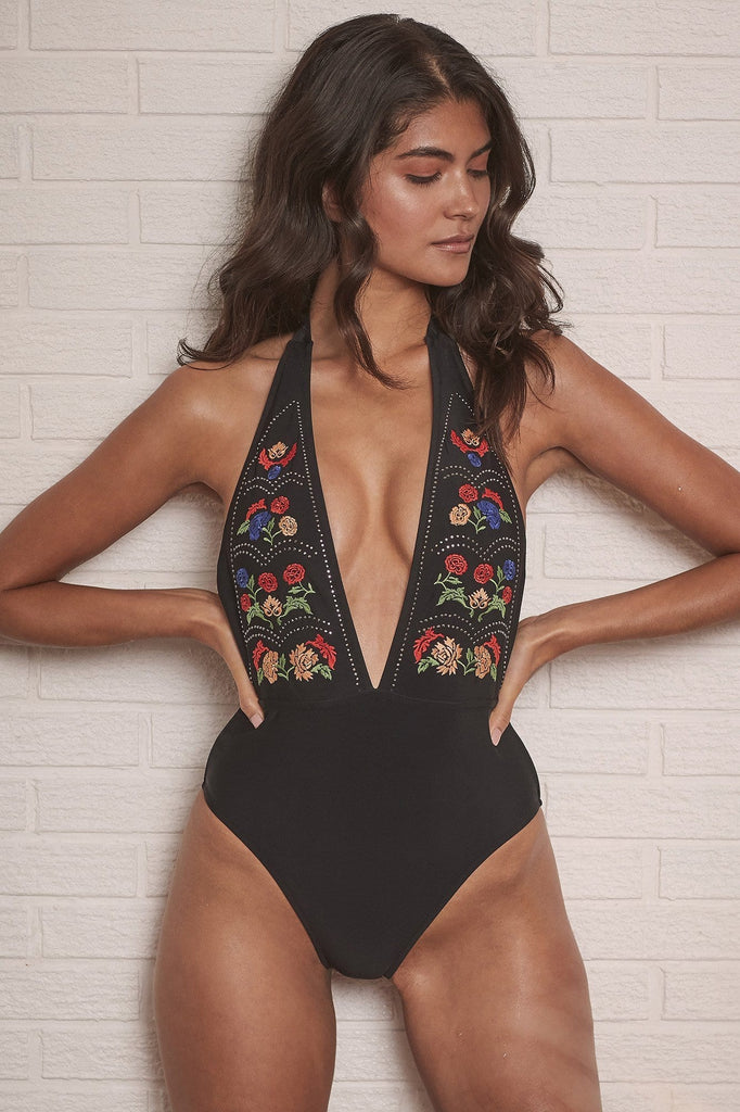 Wolf & Whistle Mayla Embroidered Plunge Swimsuit