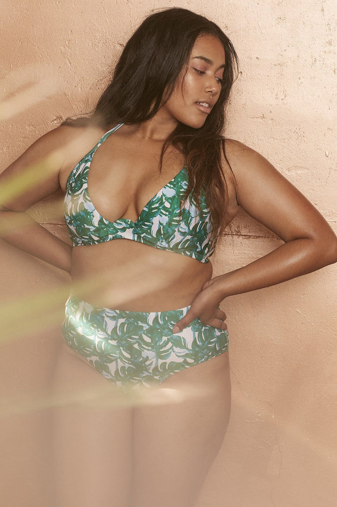 Wolf & Whistle Loha Green Palm Underwired Bikini Top Curve