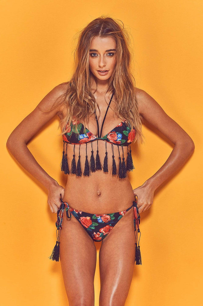 Wolf & Whistle Thea Fringed Floral Bikini Top