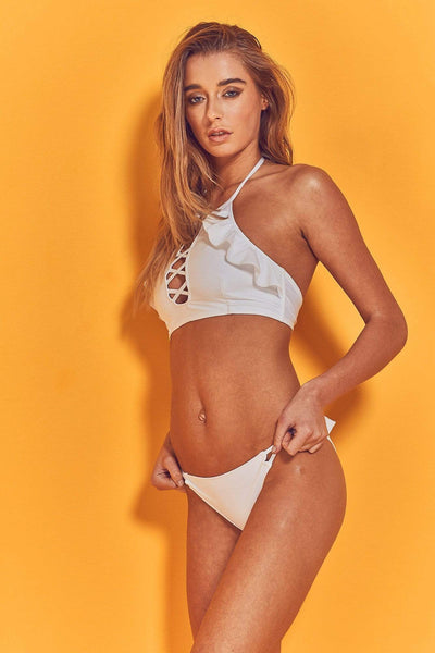 Wolf & Whistle Jolie White Criss Cross & Frill Bikini Top