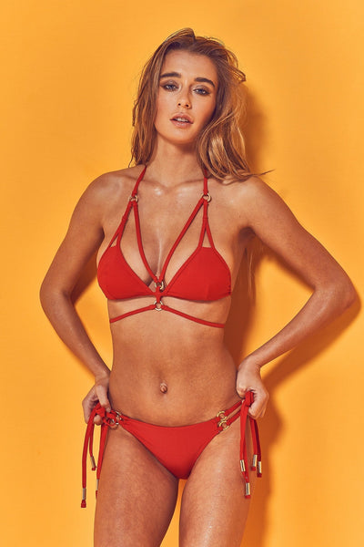 Wolf & Whistle Kiki Strappy Bikini Brief with Gold Rings