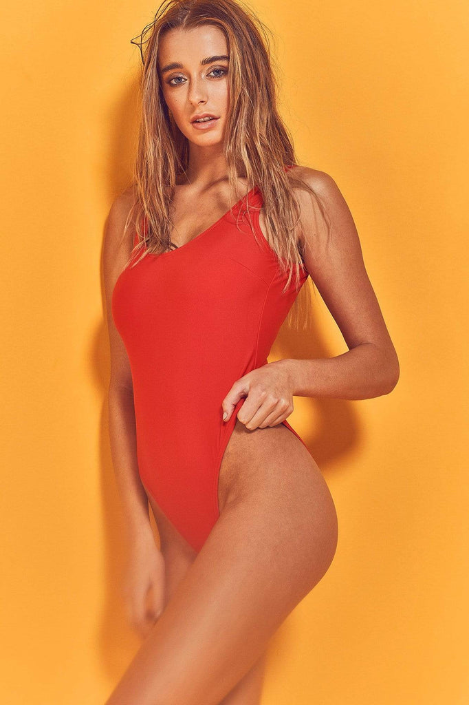 Wolf & Whistle Halley Red Scoop Swimsuit