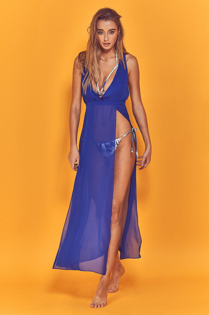 Wolf & Whistle Karissa Cross Back Beach Dress Blue