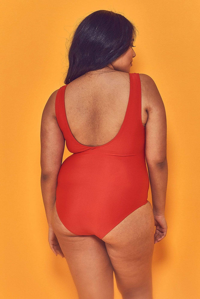 Wolf & Whistle Halley Red Scoop Swimsuit Curve