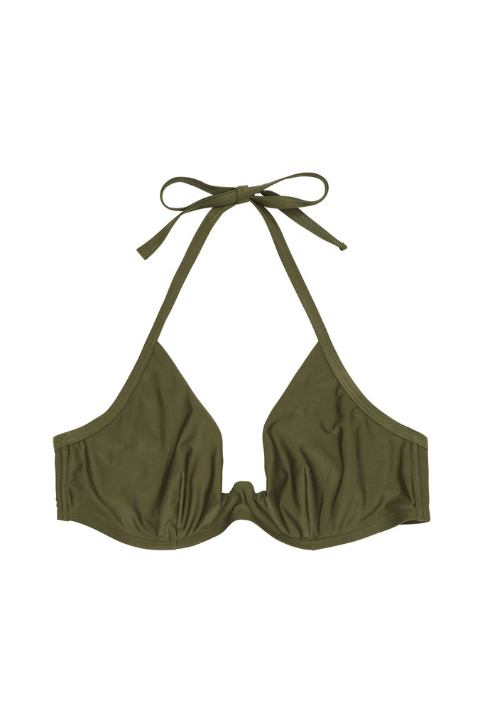 Wolf & Whistle Katya Khaki Exposed Cradle Bikini Top Curve