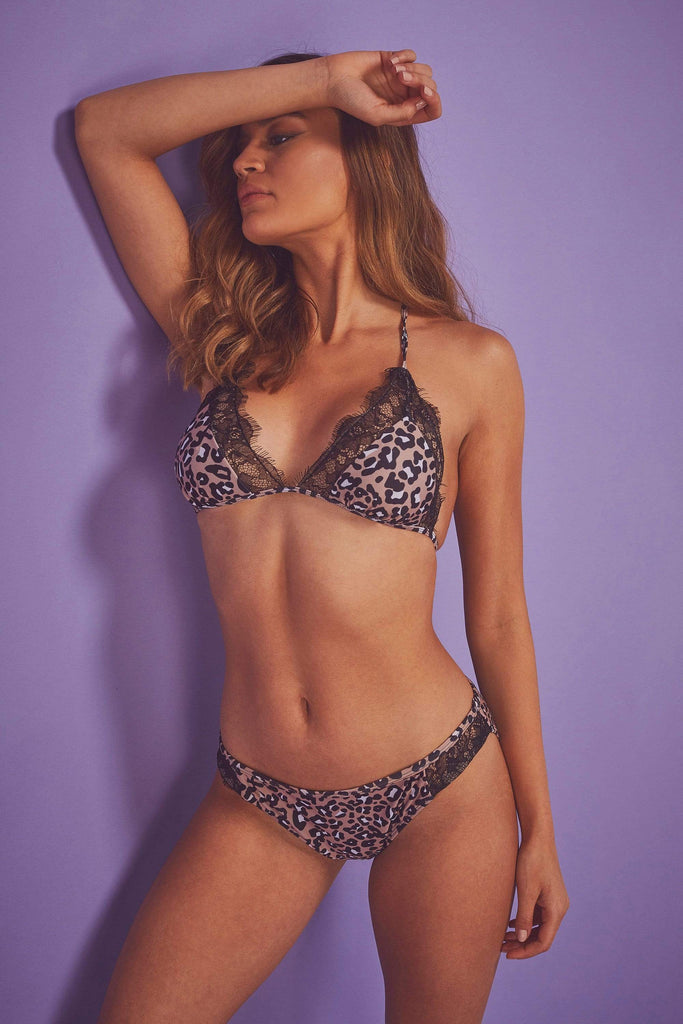 Wolf & Whistle Leopard Eco Lace Trim Triangle Bikini Top