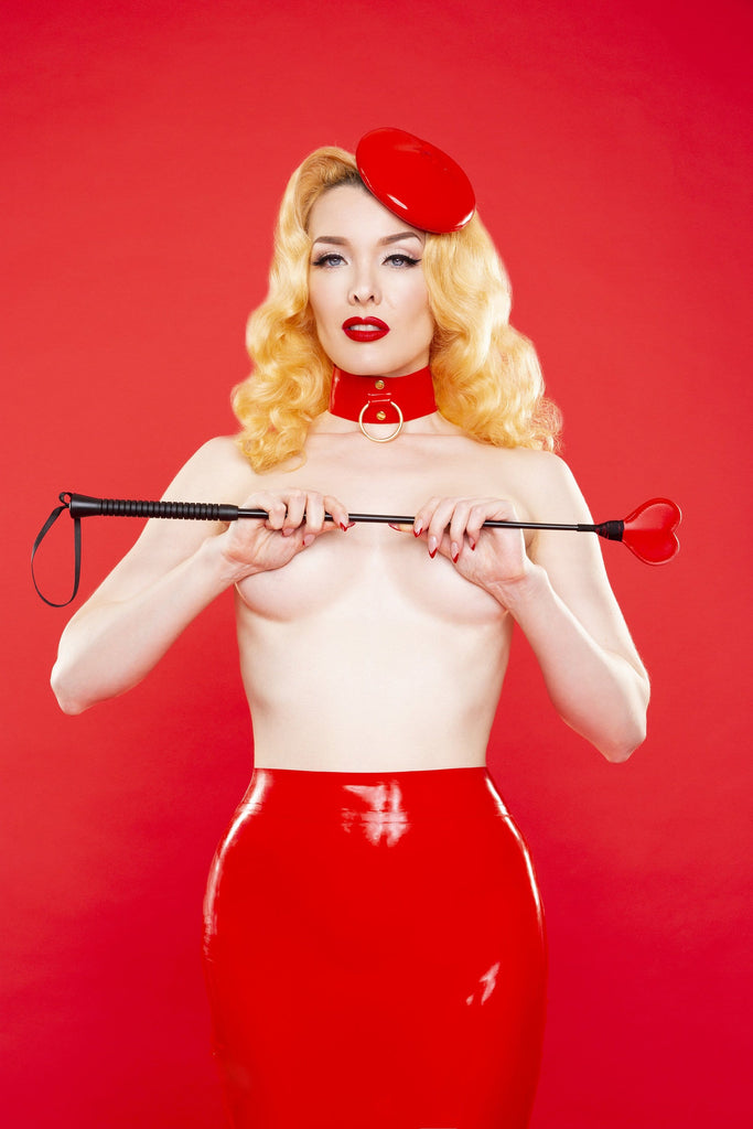 Bettie Page Heart faux leather riding crop