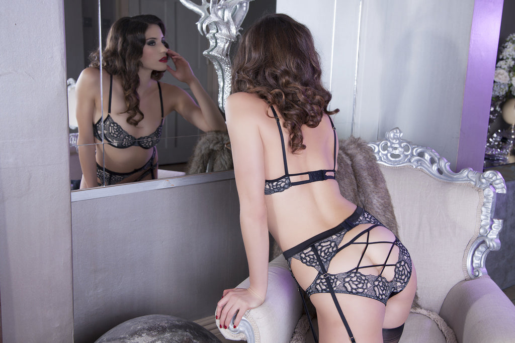 Black Embroidered Lace Open Brief Backless