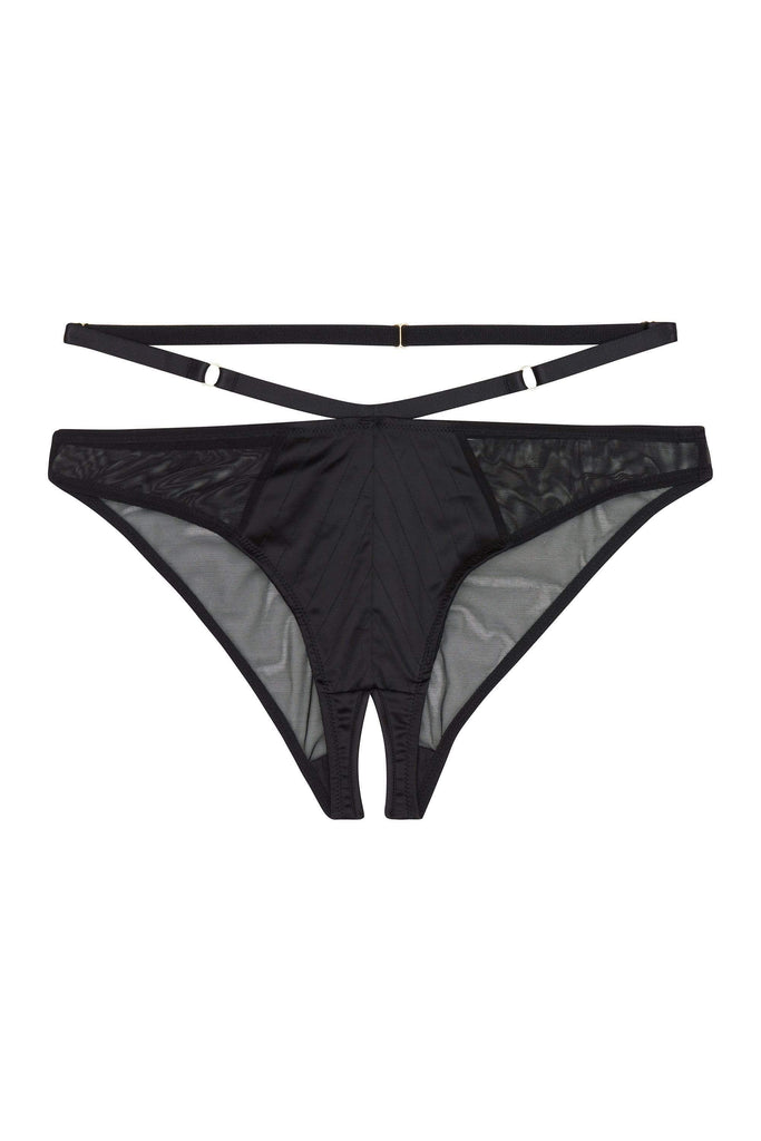 Playful Promises Sacha Black Crotchless Brazilian Brief Curve
