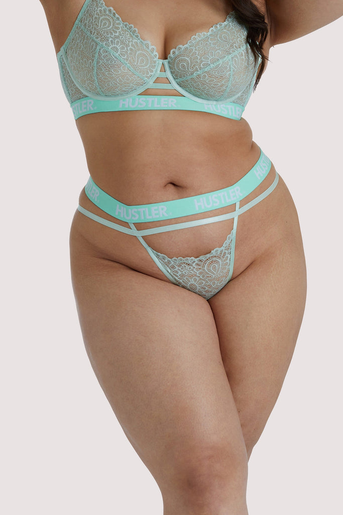 Hustler Branded Mint Curve Lace Thong