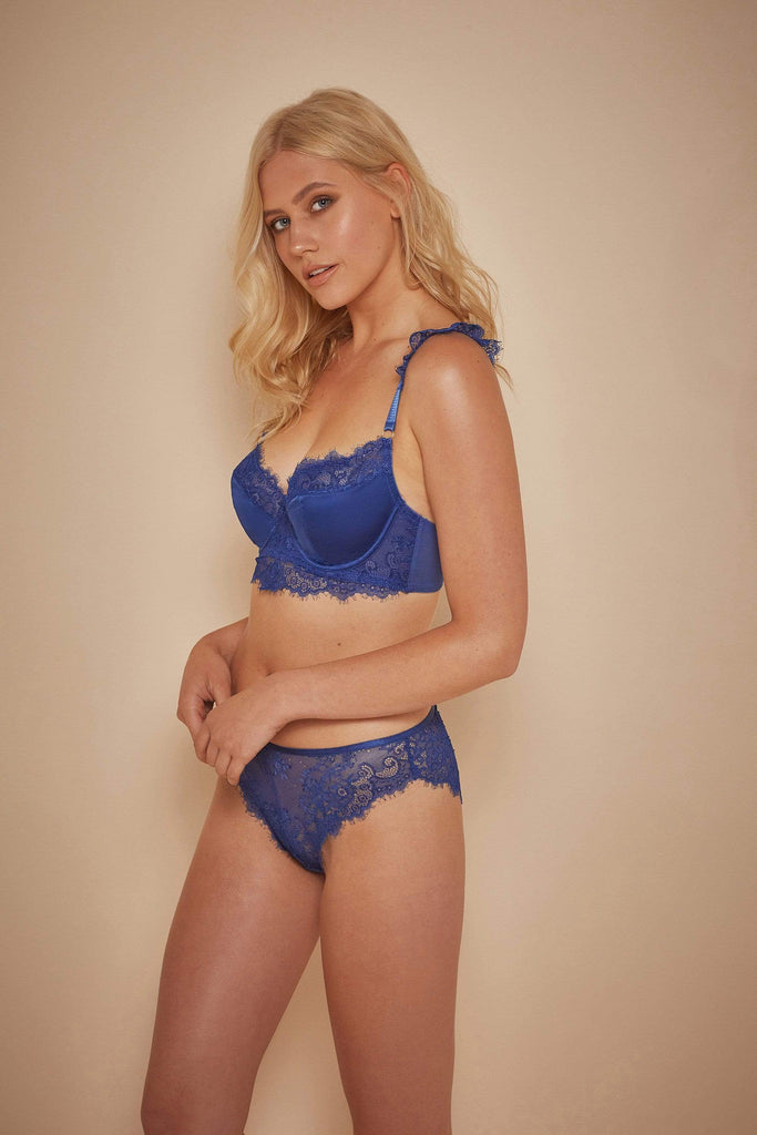 Wolf & Whistle Millie Eyelash Lace Brief Blue