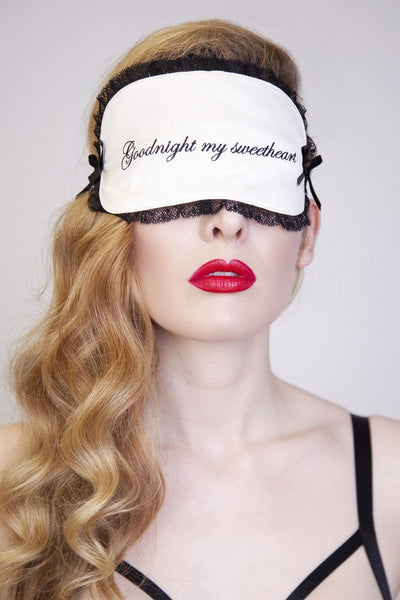 ivory black embroidered eye mask sleep black bridal gift lace