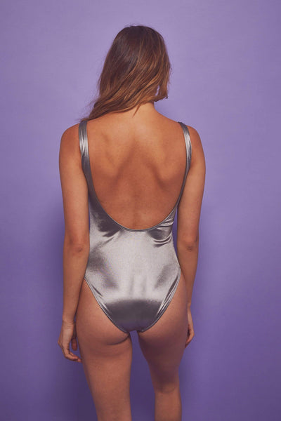 Wolf & Whistle Metallic scoop swimsuit silver