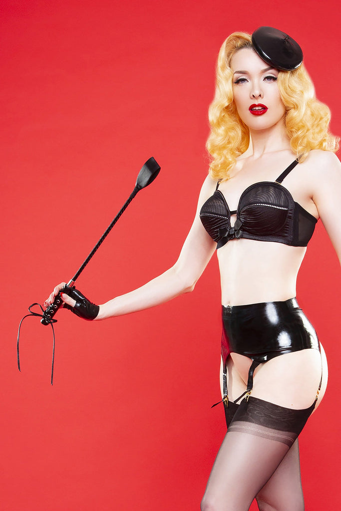 Bettie Page Lace up faux leather riding crop