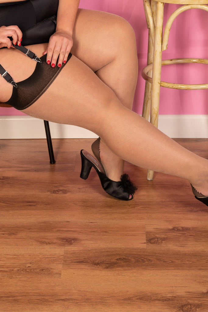 What Katie Did Seamed Stockings Curve Champagne/Black