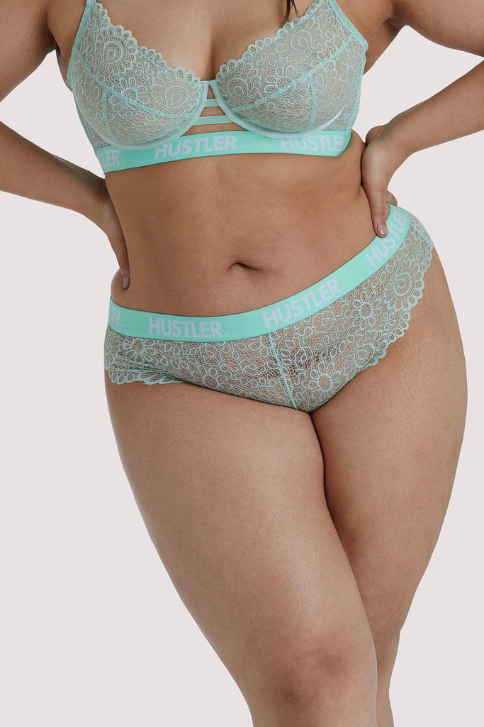 Hustler Branded Mint Curve Lace Brief