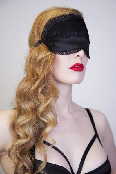 Black eye mask sleep fringe tassels