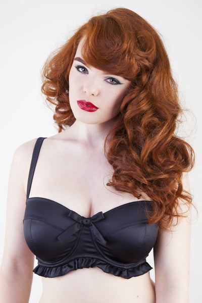 balconette satin black frilly bra bow full bust
