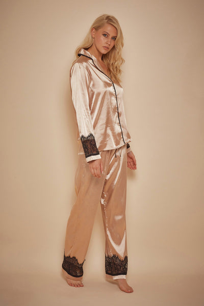Wolf & Whistle Emmy Eyelash Lace Trim Long Sleeve PJ Set