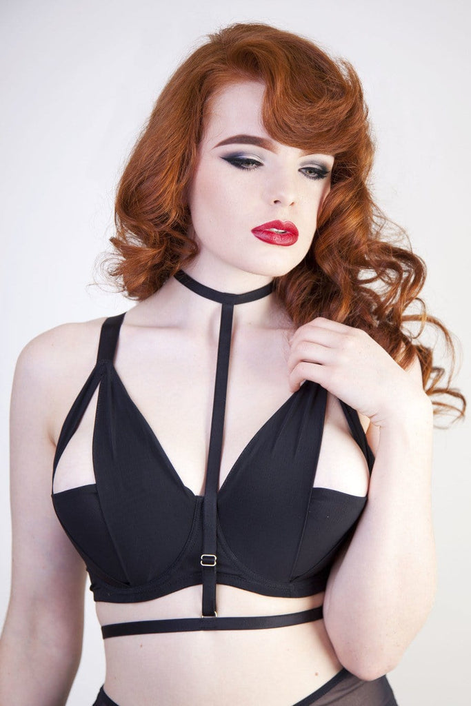harness black bra strappy cut out mesh detachable full bust