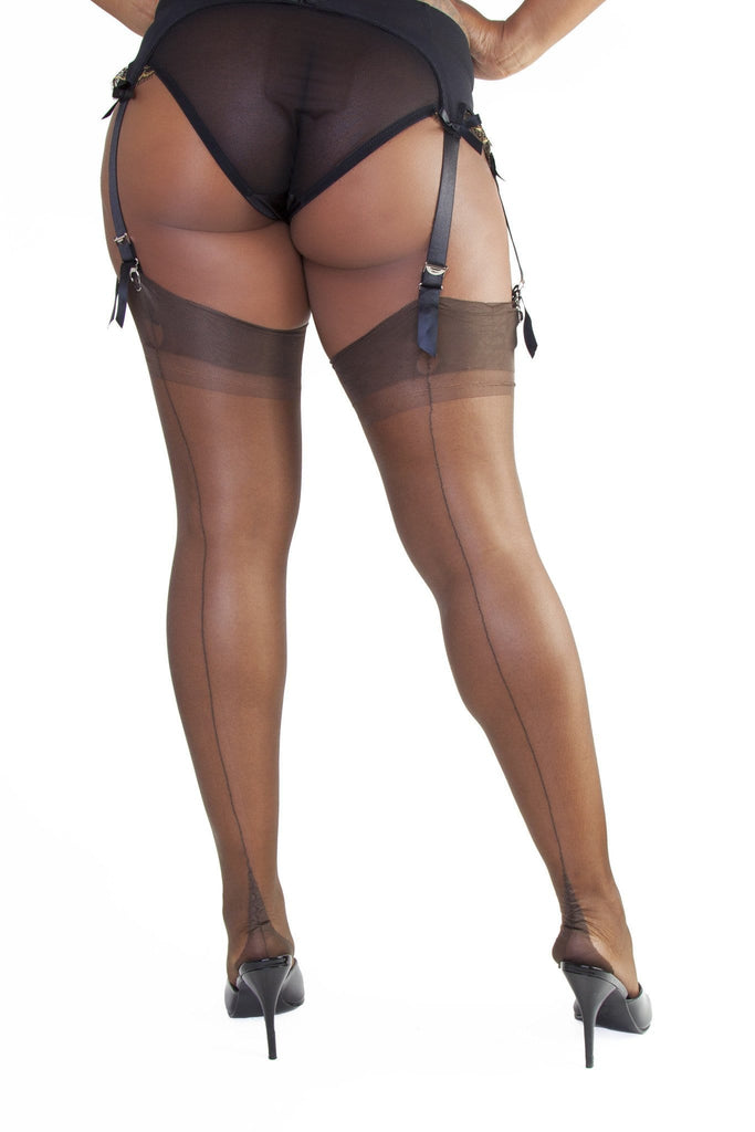 Bettie Page Fully Fashioned Nylon Point Heel Stockings - Chocolate