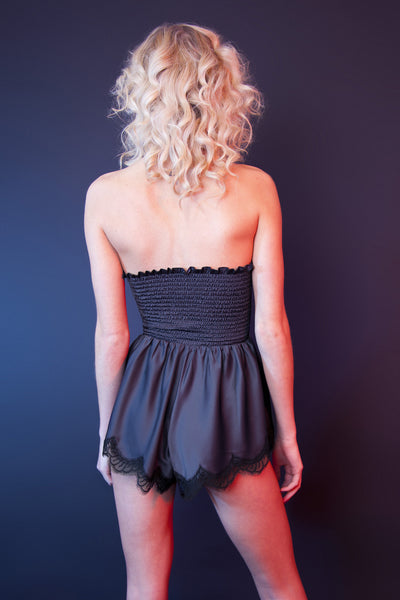 purple satin black lace body bodice teddy shorts strapless sweetheart neckline fitted playsuit