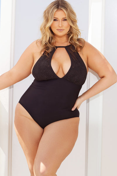 Hunter McGrady Plus Size/Curve Black High Neck Lace Panel Swimsuit