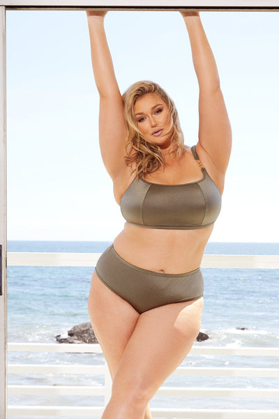 Hunter McGrady Plus Size/Curve High Shine Cropped Bikini Top