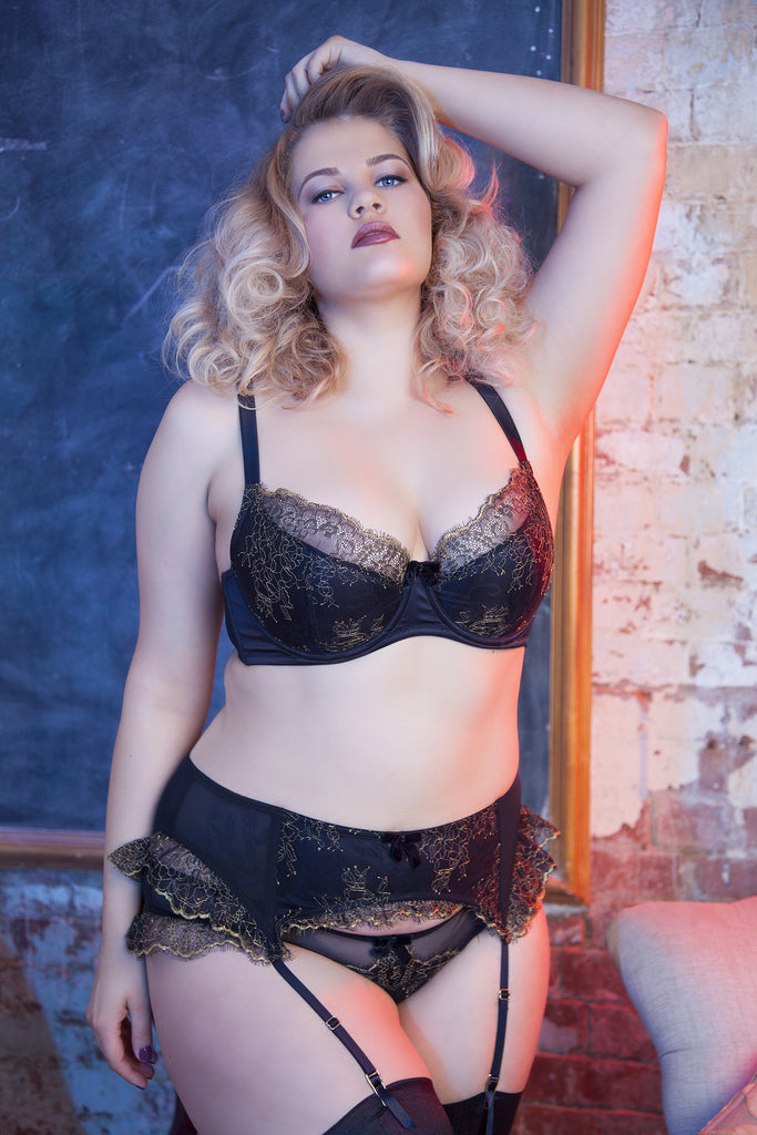 gold and black lace eyelash velvet bow overlay curve plus size suspender belt garter