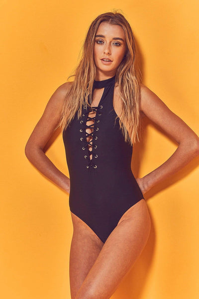 Wolf & Whistle Kira High Neck Lace Up Swimsuit