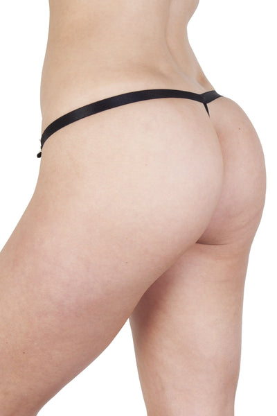 Mae Black Satin and Lace Thong