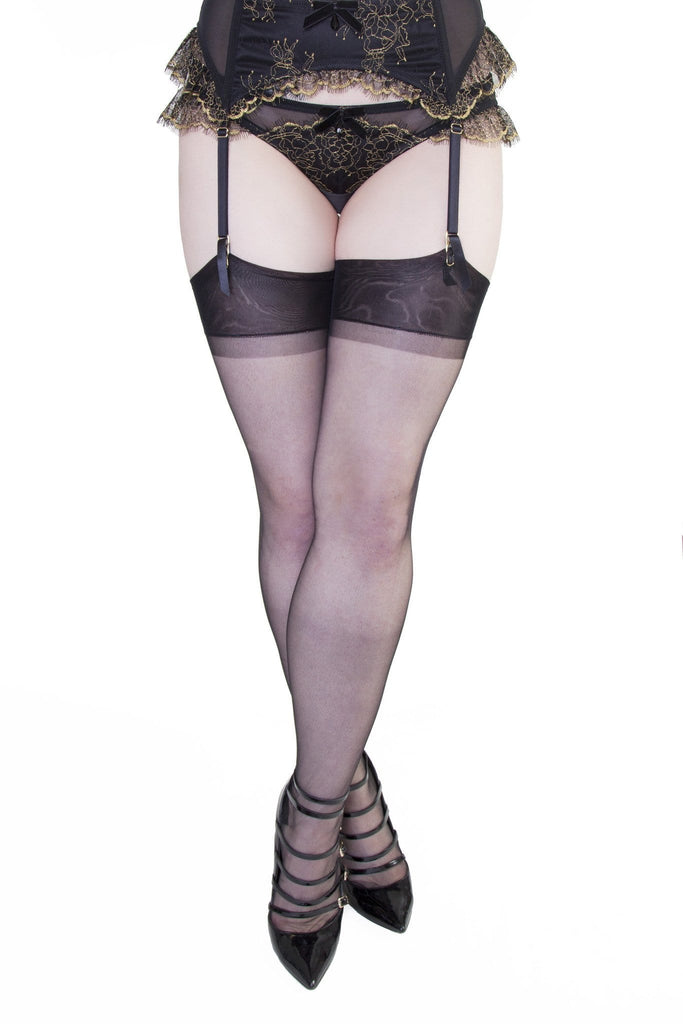 Bettie Page Fully Fashioned Nylon RHT Stockings - Black