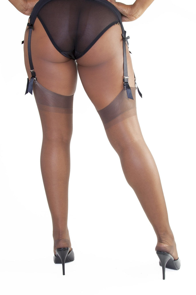 Bettie Page Fully Fashioned Nylon RHT Stockings - Chocolate