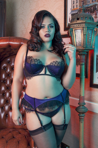 Sheba Purple Lace Suspender Belt Curve