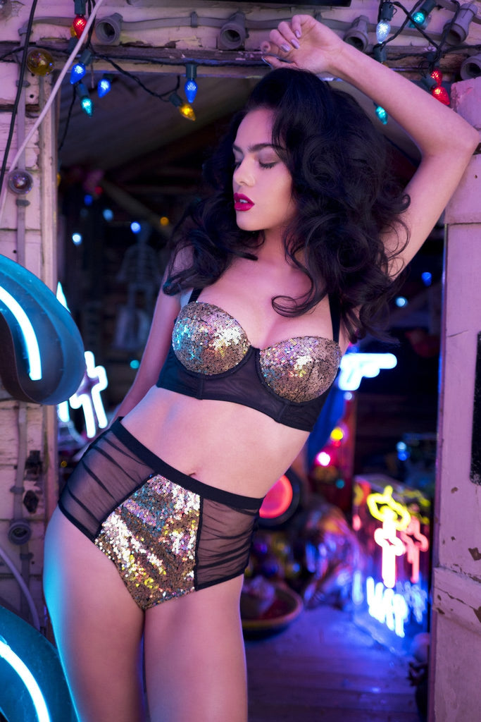 gold sequin black mesh high waist briefs knickers ruched