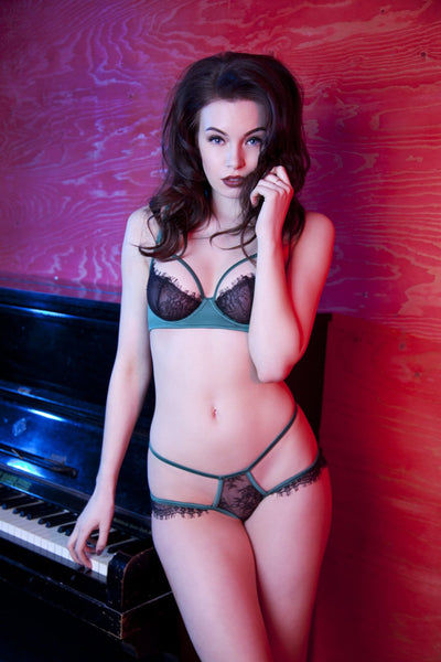 green and black eyelash lace bra harness caged satin