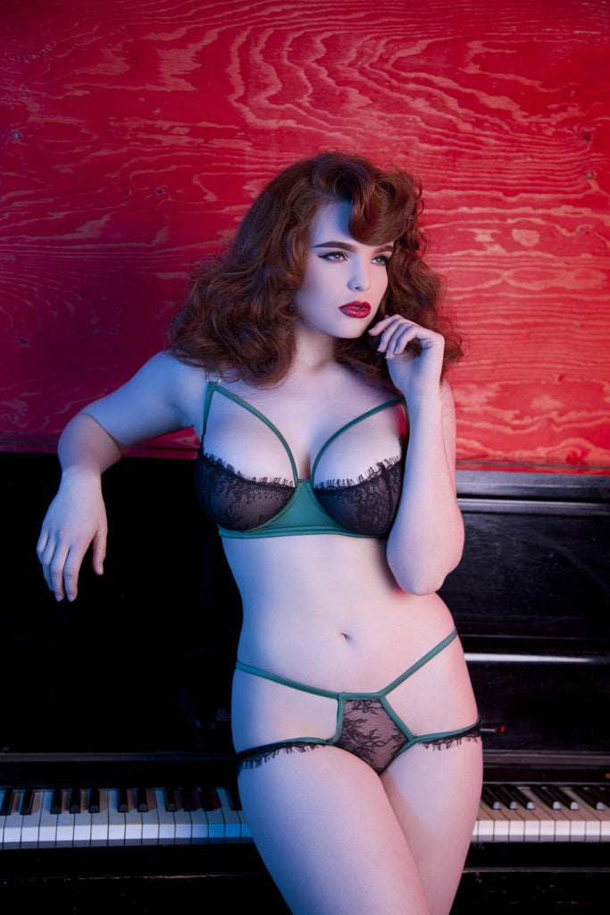 green and black eyelash lace bra harness caged satin full bust
