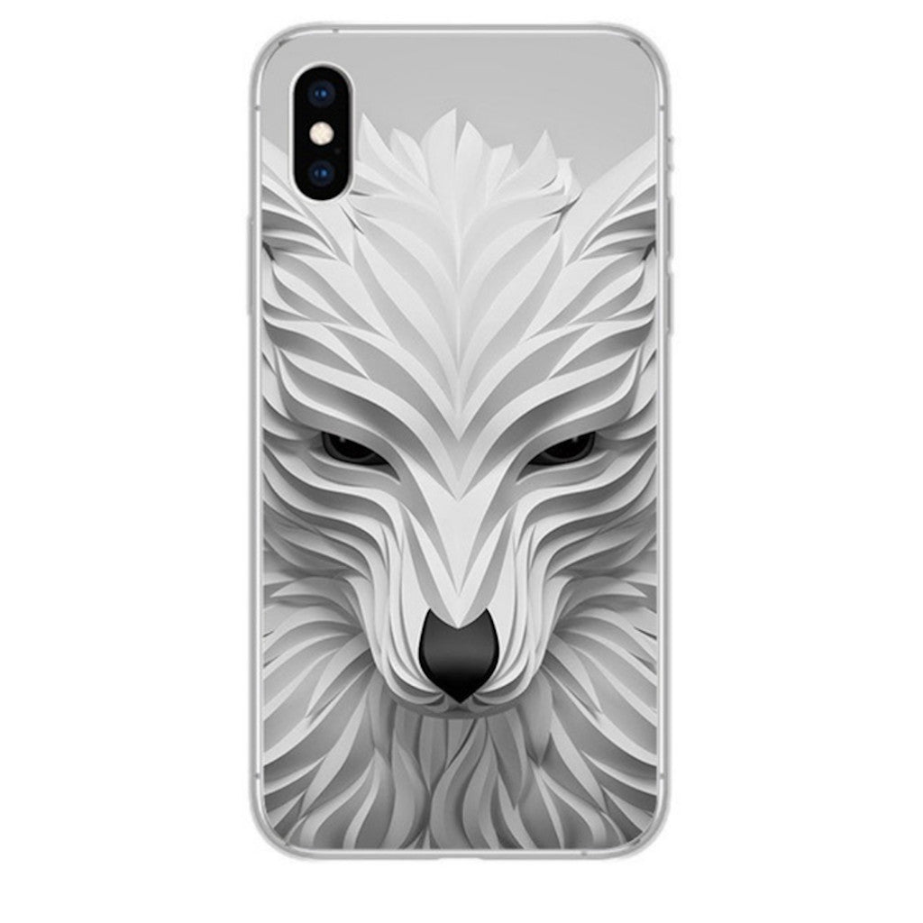 Coque iPhone 3D Loup Blanc