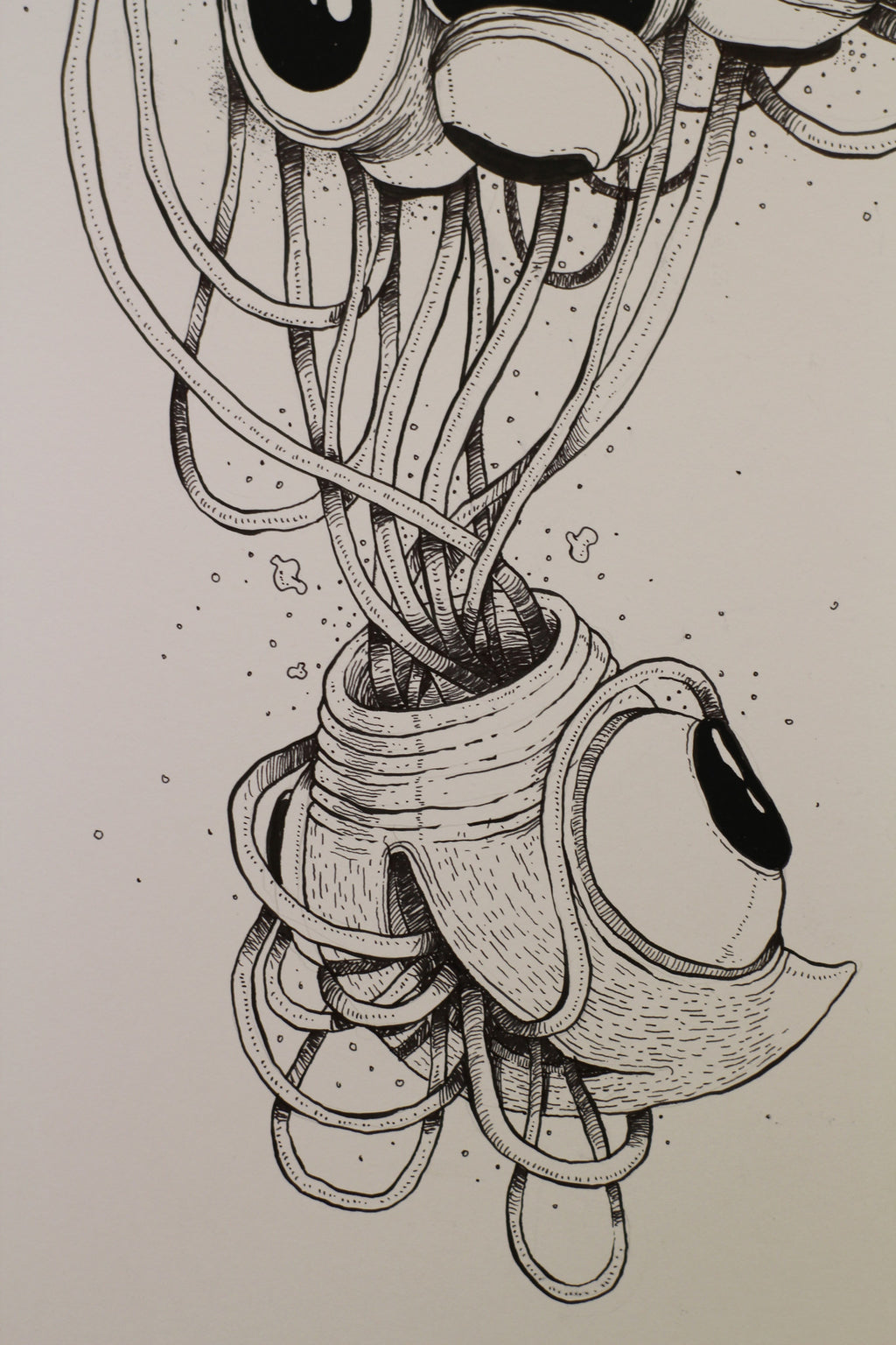 Thinking. Original ink drawing