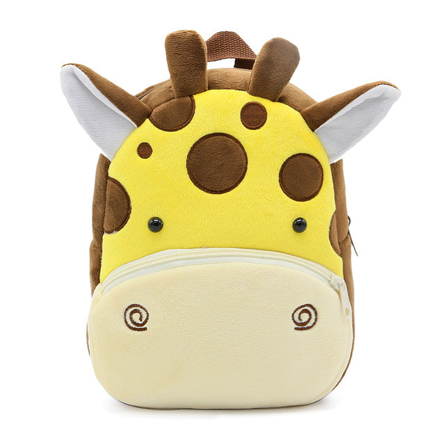 Giraffe backpack made of soft plush fabric, delightfully soft, snuggly and perfect to hold as a comforter.