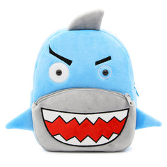 Shark character backpack made of soft plush fabric, delightfully soft, snuggly and perfect to hold as a comforter.