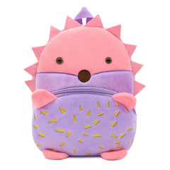 Hedgehog backpack made of soft plush fabric, delightfully soft, snuggly and perfect to hold as a comforter.