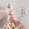 White Baby Sun Hat with flower
