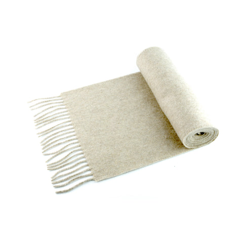 100% cashmere scarf, made in Ireland, wheat beige
