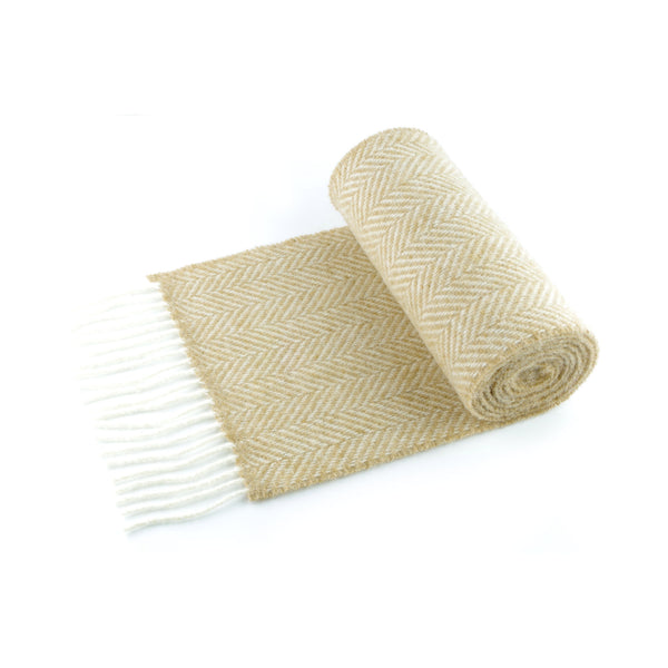 Classic herringbone scarf in a merino/wool blend, honey beige