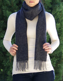 Classic herringbone scarf in a merino/wool blend, charcoal grey